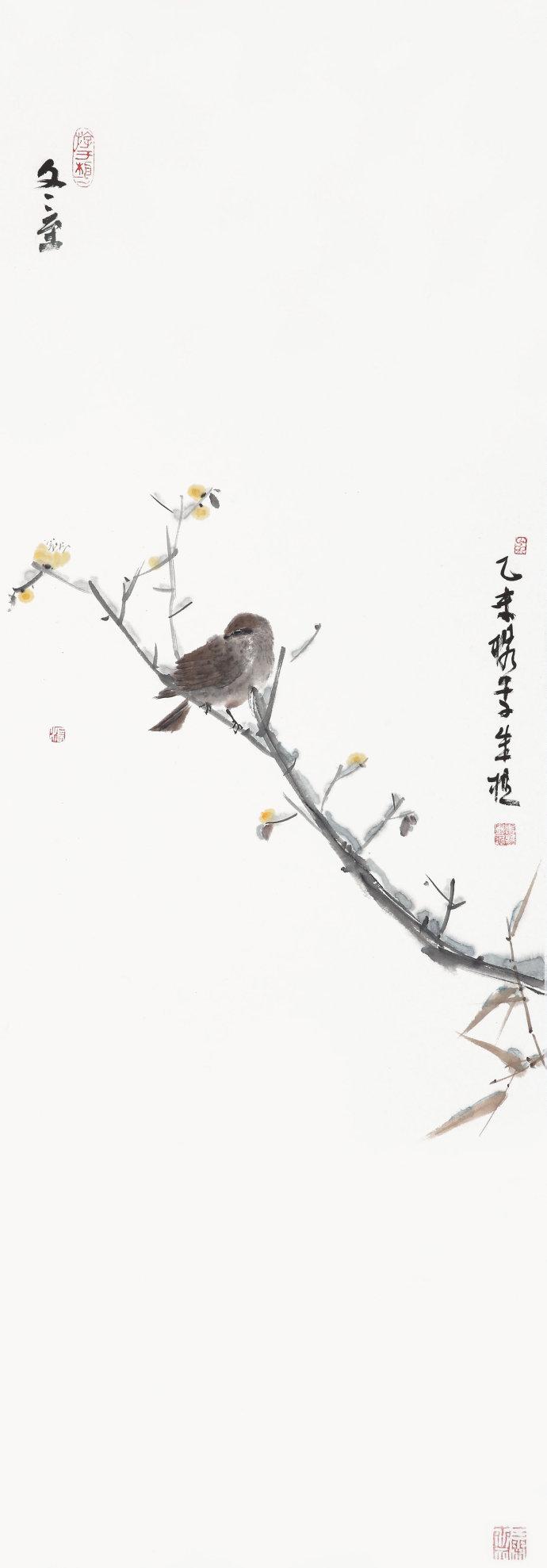 朱樵中国画《一只麻雀的春夏秋冬》